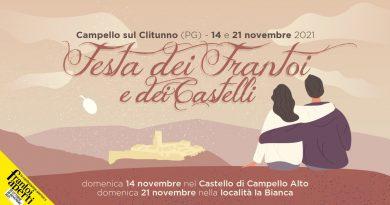 """A Campello sul Clitunno, in Umbria, un nuovo evento oleo-gastronomico  la """"Festa dei Frantoi e dei Castelli""""  Domenica 14 e domenica 21 novembre 2021"""